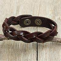 Men's braided leather bracelet, 'Cordovan Rope' - Artisan Crafted Braided Leather Wristband Bracelet for Men