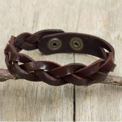Mens braided leather bracelet, Cordovan Rope