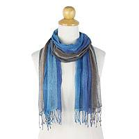 Silk scarves, 'Blue Grey Fantasy' (pair) - Hand Dyed 100% Silk Scarves in Blue and Grey (Pair)