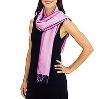 Rayon and silk blend scarf, 'Lilac Shimmer'