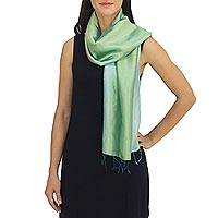 Rayon and silk blend scarf, 'Mint Shimmer' - Silky Aqua Scarf Hand Crafted by Thai Artisan