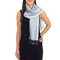 Rayon and silk blend scarf, 'Silver Shimmer' - Fair Trade Silver Grey Rayon and Silk Scarf