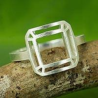Sterling silver cocktail ring, 'Satin Window' - Thai Brushed Sterling Silver Geometric Cocktail Ring