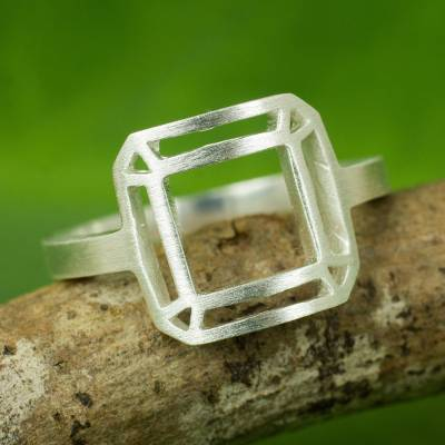 personalized ring bands - Thai Brushed Sterling Silver Geometric Cocktail Ring