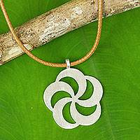 Sterling silver flower necklace, 'Pinwheel Blossom' - Thai Artisan Crafted Brushed Silver Flower Necklace