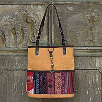 Cotton and leather accent shoulder bag, 'Saffron Rhythm' - Hill Tribe Embroidery on Cotton Shoulder Bag with Leather