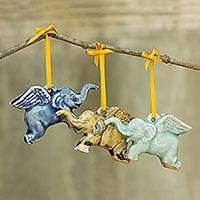 Celadon ceramic ornaments, 'Flying Elephants' (set of 3)