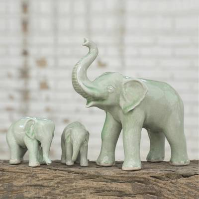 Celadon ceramic statuettes, 'Sweet Elephant Family in Green' (set of 3) - Celadon Elephant and Babies Ceramic Statuettes (Set of 3)