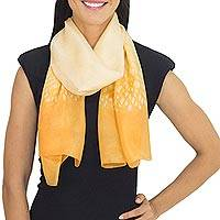 Silk scarf, 'Butterscotch Rain' - Butterscotch Yellow Silk Scarf from Thailand