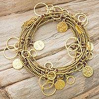 Gold plated garnet wrap bracelet,