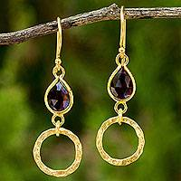 Gold vermeil garnet dangle earrings, 'Golden Legacy' - Garnet Hook Earrings in 24k Gold Plated Sterling Silver