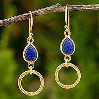 Gold vermeil lapis lazuli earrings, 'Golden Legacy' - 24k Gold Vermeil Earrings with Lapis Lazuli Gems