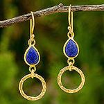 24k Gold Vermeil Earrings with Lapis Lazuli Gems, 'Golden Legacy'