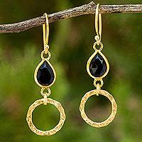 Gold vermeil onyx dangle earrings,