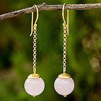 Gold vermeil rose quartz dangle earrings, 'Let's Swing' - Natural Rose Quartz and Gold Plated Sterling Silver Earrings