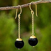 Gold vermeil onyx dangle earrings,