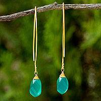Gold vermeil chalcedony dangle earrings, 'In a Twist' - Spiral Faceted Green Chalcedony Dangle Earrings