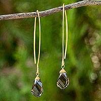 Gold vermeil smoky quartz dangle earrings, 'In a Twist' - 24k Gold Plated Sterling and Smoky Quartz Earrings