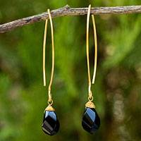 Gold vermeil onyx dangle earrings, 'In a Twist' - Fair Trade Onyx and 24k Gold Vermeil Dangle Earrings