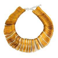 Upcycled wood statement necklace, 'Riptide' - Upcycled Pinewood Necklace with Sterling Silver Accents