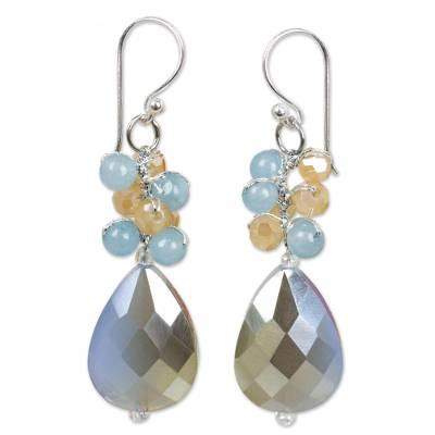 Beaded dangle earrings, 'Winter Thaw' - Dangle Earrings with Quartz and Glass Beads