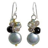 Beaded dangle earrings, 'Night Reflections' - Beaded Glass and Quartz Dangle Earrings with Faux Pearl