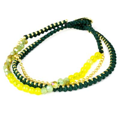 Beaded bracelet, 'Happy Chic in Yellow and Green' - Green and Yellow Beaded Bracelet with Gold Tone Accents