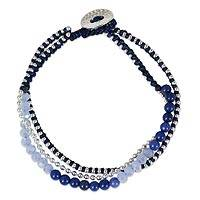 Beaded bracelet, 'Happy Chic in Blue' - Artisan Crafted Bead Bracelet with Blue Quartz and Glass