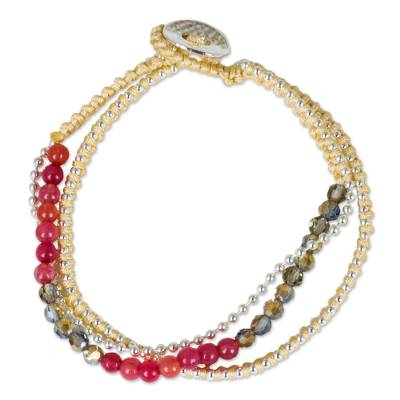 Beaded bracelet, 'Happy Chic in Cherry Pink' - Colorful Beaded Quartz and Glass Bracelet on Nylon Cords