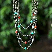 Cultured pearl and multi-gemstone waterfall necklace, 'Season Glamour' - Handcrafted Pearl Multi Gemstone Beaded Waterfall Necklace
