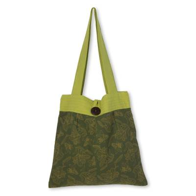 Handcrafted Green Print Cotton Shoulder Bag from Thailand
