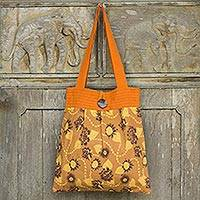 Cotton shoulder bag, 'Thai Ginger Garden' - Handcrafted Orange Floral Cotton Shoulder Bag from Thailand