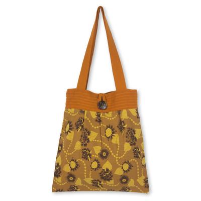 Handcrafted Orange Floral Cotton Shoulder Bag from Thailand
