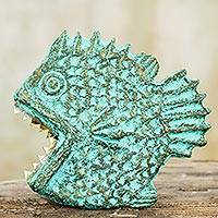 Recycled paper wall sculpture, 'Hungry Piranha' - Fish Wall Adornment Handmade Recycled Paper Sculpture