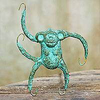 Recycled paper wall sculpture, 'Playful Monkey' - Recycled Paper Monkey Wall Art Sculpture Crafted by Hand