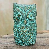 Recycled paper statuette, 'Observant Owl' - Recycled Paper Owl Statuette Handcrafted in Thailand