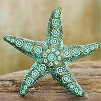 Recycled paper wall sculpture, 'Unique Starfish' - Recycled Paper Starfish Wall Art Sculpture Crafted by Hand