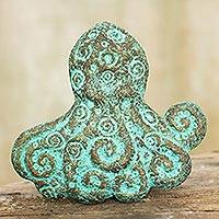 Recycled paper wall sculpture, 'Octopus Power' - Octopus Recycled Paper Wall Sculpture from Thailand