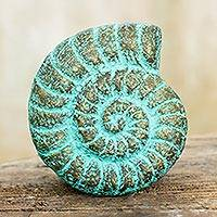 Recycled paper wall sculpture, 'Fossilized Nautilus' - Seashell Wall Art Sculpture Handmade with Recycled Paper