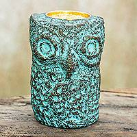 Recycled paper tealight candleholder, 'Green Thai Owl' - Thai Recycled Paper Eco-Friendly Owl Tealight Candleholder