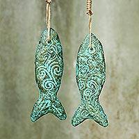 Recycled paper ornaments, 'Happiness Fish' (pair) - Buddhism Fish Ornament Handmade Recycled Paper (Pair)