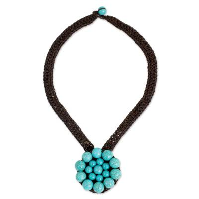 Turquoise Colored Calcite Bead Flower Pendant Necklace