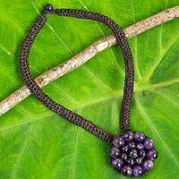 Amethyst flower pendant necklace, 'Made to Bloom' - Flower Motif Crocheted Cord Necklace with Amethyst Beads