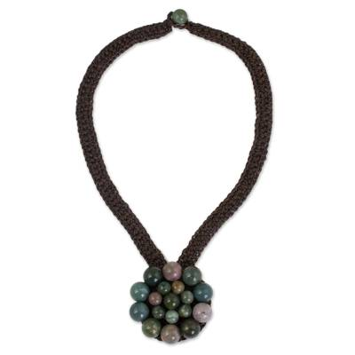 Flower Pendant Necklace with Assorted Jasper Beads