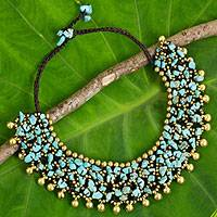 Calcite beaded collar necklace,