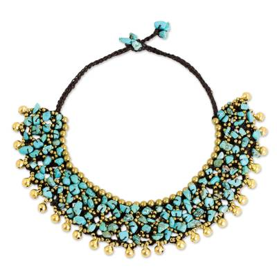 Calcite beaded collar necklace, 'Joyful Noise' - Collar Style Necklace with Blue Calcite and Brass Beads