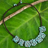 Calcite beaded necklace, 'A Sense of Nature' - Dark Brown Cord Necklace with Blue Calcite Beads