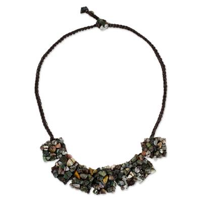 Multicolored Jasper Beaded Pendant Necklace
