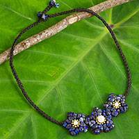 Lapis lazuli flower necklace, 'Bearing Blossoms' - Beaded Lapis Lazuli Pendant Necklace with Flower Theme