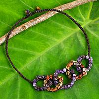 Amethyst and carnelian necklace, 'Chain Reaction' - Amethyst and Carnelian Gemstone Necklace on Brown Cords